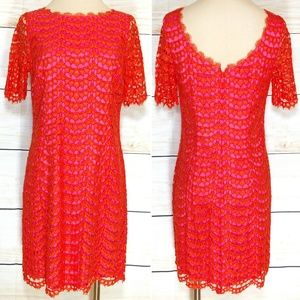 Boden Pink & Orange Lace Overlay Party Dress 8R